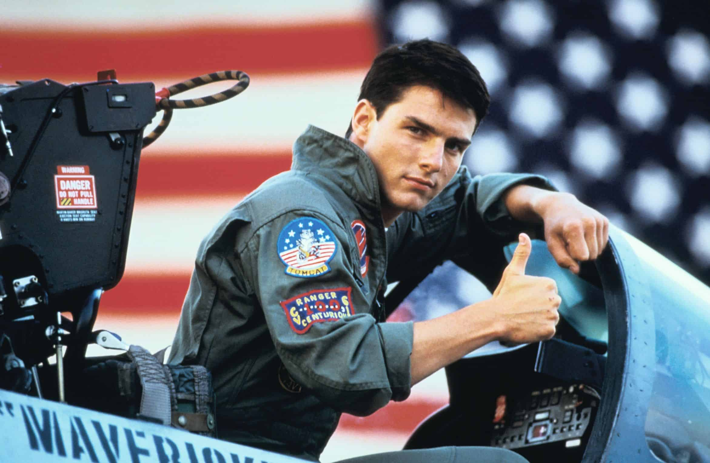 Top gun actor giving a thumbs up from his fighter jet.