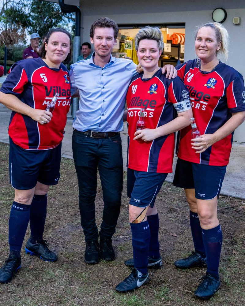 Me with The Lakes FC City 4 womens players celebrating after their undefeated season.