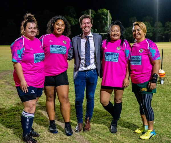 Me meeting the North Lakes Leopards Rugby Union Club Women's team.